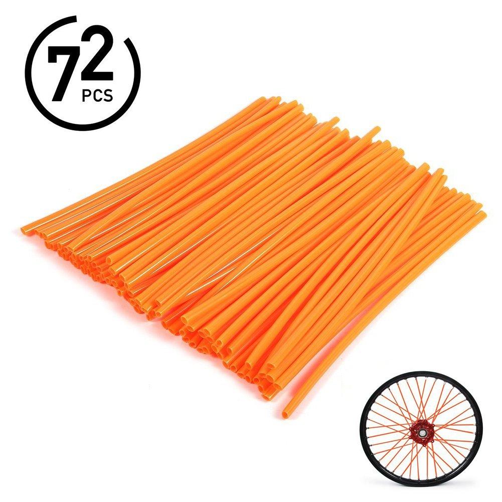 72Pcs Universal Spoke Skins Covers - Ovelur Wheel Spoke Wraps Skins Pipe Trim Decoration Protector For Motorcycle Dirt Bike Yamaha Honda Harley Suzuki(Orange)