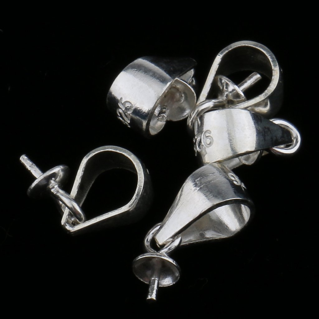 Silber 0,3x0,9 cm MagiDeal Anh/ängerschlaufe Verschlu/ß Metall Anh/änger F/ür Perlen Anh/änger
