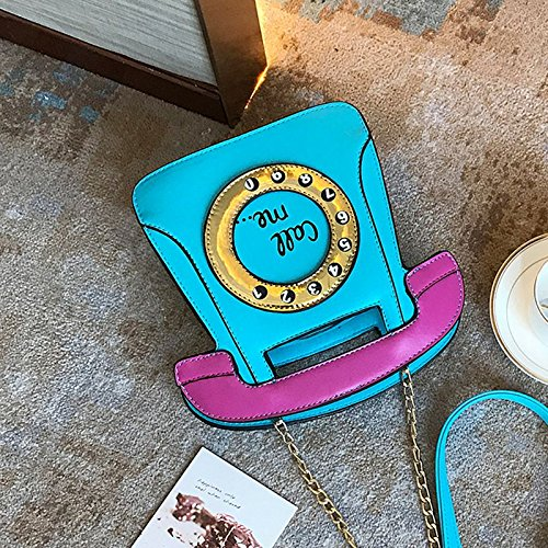 Leather Chain Telephone Body SODIAL Retro Purse PU Clutch Cross Shaped Bag Women Pink blue Bag PHaax8Tw