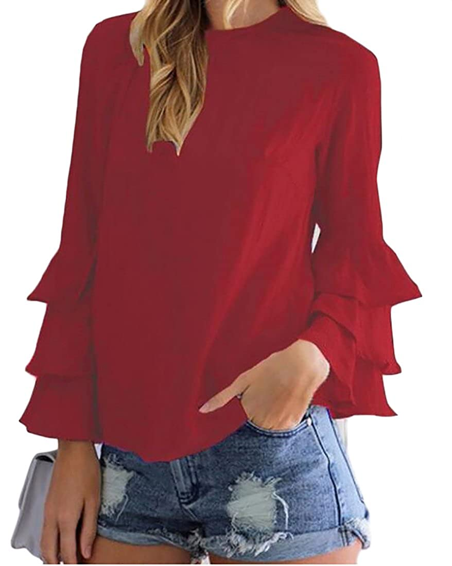 XQS Womens Long Sleeve Casual Plain Chiffon Blouse Top T Shirt