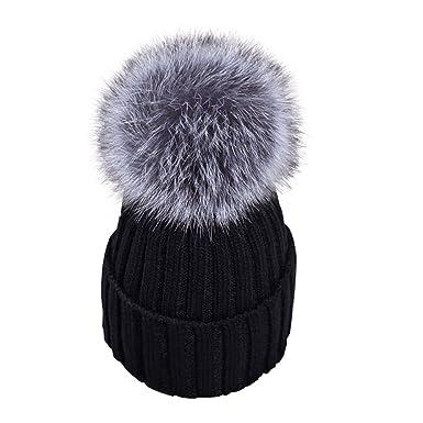 fb346cf0f34 Yidarton Womens Beanies Hat Beechfield Slouch Winter Knitted Pom Pom Cap  Artificial Fur Hats Black