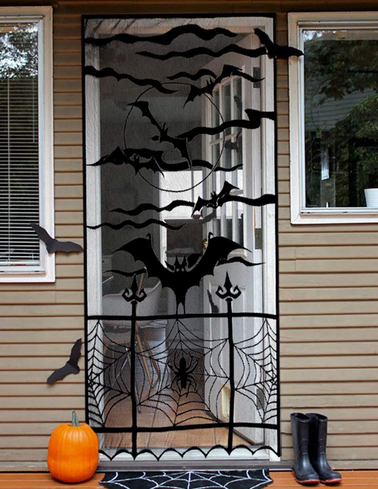 Monadicase Halloween Decoration Black Lace Window Curtain, Spooky Bats and Spider Web Door Curtain, and Black Lace Table Runner Overlay with Spider Web, for Home Party Decor