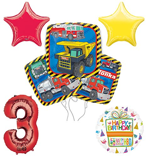 Tonka Truck 3rd Birthday Party Supplies and Balloon Decoration Bouquet Kit -