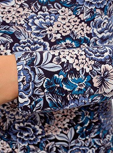 Donna Blu a Cotone Maglia Maniche oodji Collection Lunghe in 7940f n8vw5EXq7x