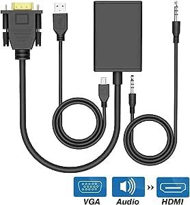 Cable convertidor de VGA a HDMI Adaptador de audio y video 1080P para computadora portátil PC, VGA a salida HDMI de HDTV Monitor de proyector Pantalla extendida con cable de alimentación USB [