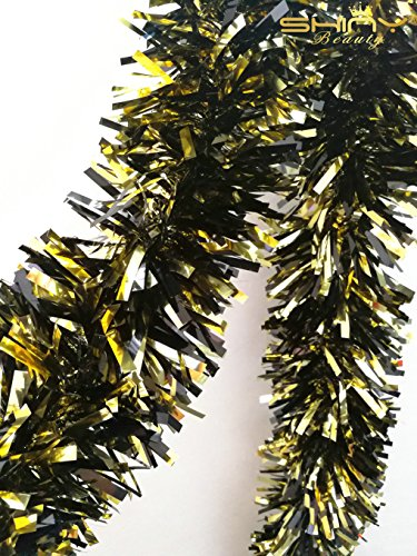 ShinyBeauty Tinsel-Metallic-Foil-Garland-6.5-Feet long-Gold&Black for Children's Party Decoration-TG003 -