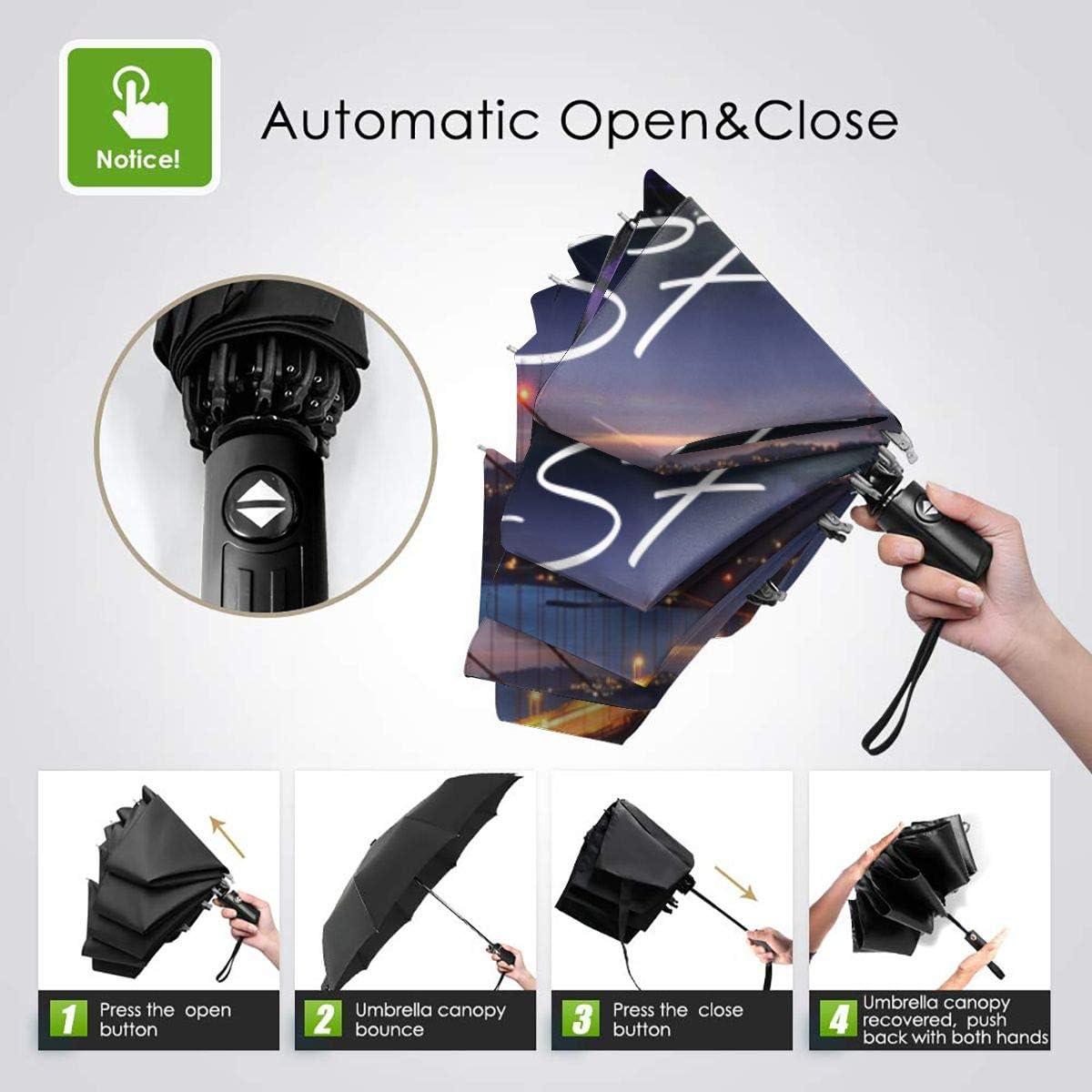 I Love SF Automatic Tri-Fold Umbrella Parasol Sun Umbrella Sunshade
