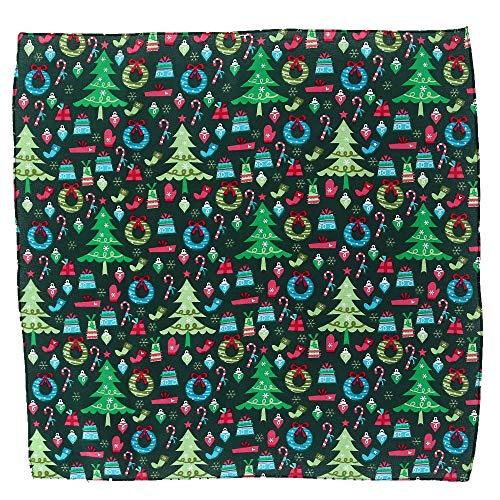 CTM Trendy Christmas Pattern Holiday Print Bandana, Green
