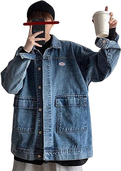(シジャァーノ) ジャケット メンズ ジージャン 長袖 春 秋 韓国風 Gジャン アウター ゆったり ファッション 黒 カーゴジャケット コート ショート丈 デニム かっこいい 無地 ヒップ系 アウトドア