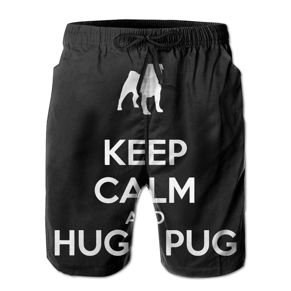 Pug Lovers Keep Calm Hug Pugs Mens Summer Beach Shorts Board Shorts with Pockets