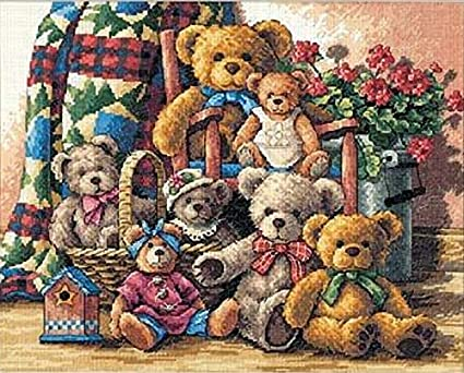 1x Cross Stitch Kit Cushion Christmas a Teddy Bear Sewing Craft Tool UK