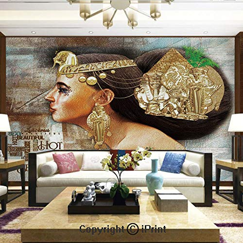 Lionpapa_mural Removable Wall Mural Ideal to Decorate Your Living Room,Woman Queen Cleopatra Profile Historical Art Scene with Ancient Pyramid Sphinx Decorative,Home Decor - 100x144 -