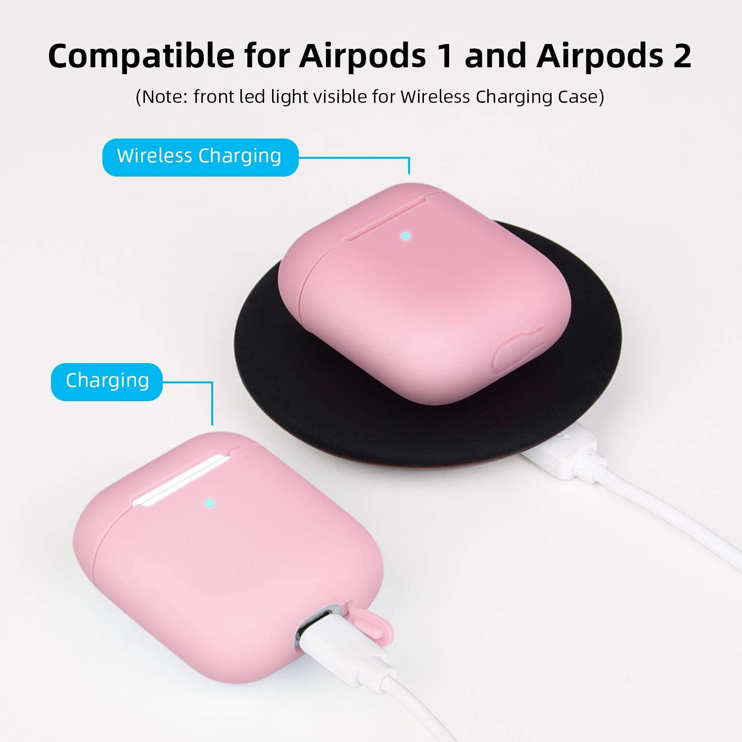 Pink/&Mint Green 2 Packs Airpods Skin for Apple Airpods 1 /& 2 Wireless Charging Case,RTAKO AirPods Case Protective Cover Silicone Skin Waterproof Airpods Accessories 9 in 1 New Airpods Case Cover