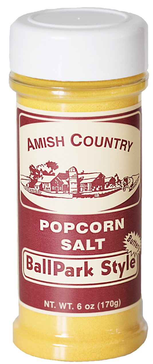 Amish Country Popcorn - BallPark ButterSalt 6 Ounce - Old Fashioned with Recipe Guide