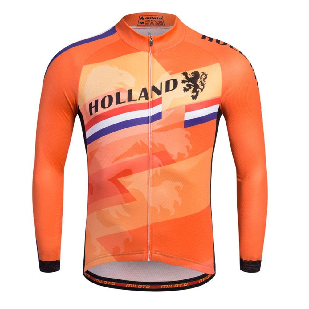 Uriah Men 's Cycling Jersey熱フリース長袖Reflective B074Q9QZ8S Chest 38.5''=Tag M|Holland Style Holland Style Chest 38.5''=Tag M