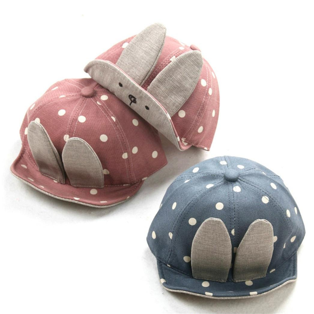 RNTOP/_Baby Hat Beanie For Baby Boy Girl Long Rabbit Ears Dots Hats Casquette Adjustable
