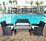 Merax 4 PC Rattan Patio Furniture Set Garden Lawn Sofa Wicker Sofa Cushioned Seat (Black)