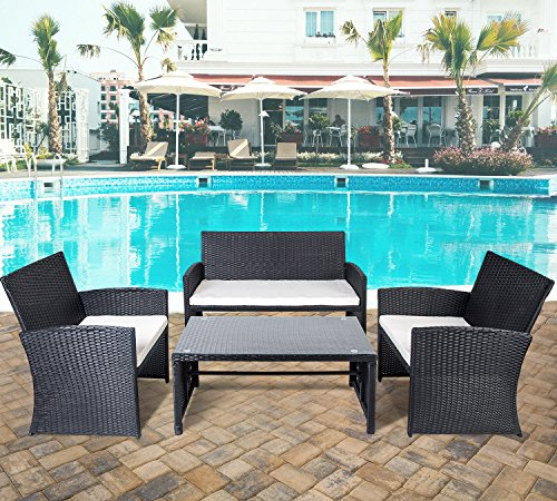 Merax 4 PC Rattan Patio Furniture Set Garden Lawn Sofa Wicker Sofa Cushioned Seat (Black) (Furniture Ideas Patio Porch)