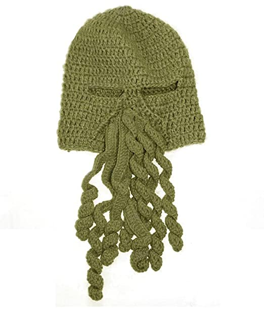 7cc39b4c1 BIBITIME Crochet Octopus Tentacle Beanie Hat Squid Mask Cap Knitted Beard  Caps