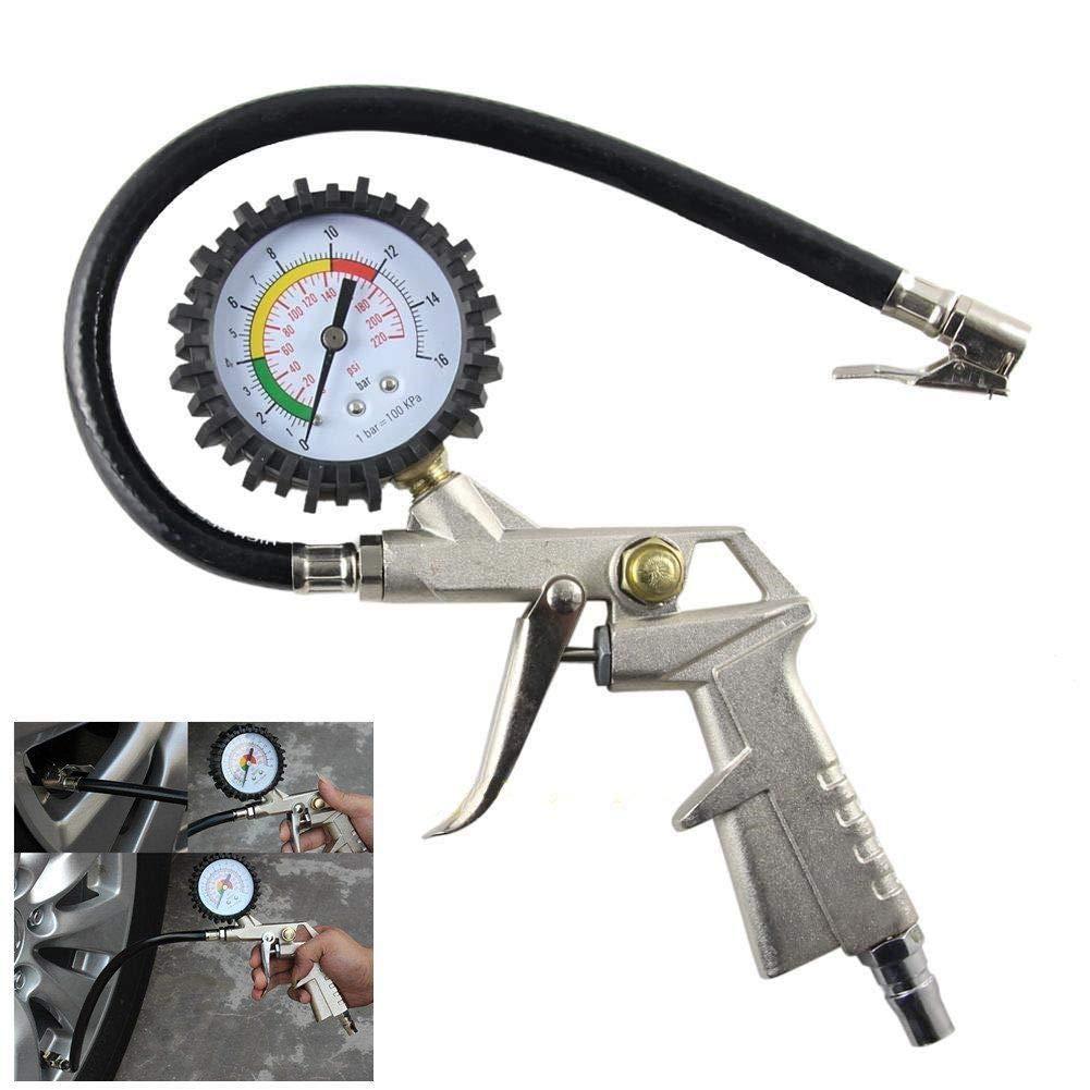 ees.Lock On Tire Inflator Air Pressure Gauge Hose Truck Motorcycle Bike Car 220psi