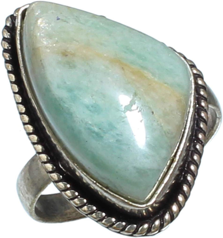 jewels paradise Anillo de Plata de Ley 925 Chapado en Plata de Ley 925 Hecho a Mano con Piedra Preciosa de Amazonita (SF-1993)