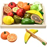 CARLORBO Wooden Toys Pretend Play Food for Children Kitchen,Role play Magnetic Fruit and Veg Educational Toys for 2 Year Old Boys and Girls