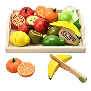 CARLORBO Wooden Toys for 2 Year Old - Pretend Play Food Set for Kids Play Kitchen,9 Cuttable Toy Fruit and Veg with Wooden Knif and Tray,Gift Idea for Boy Girl Birthday