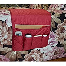 NOVADEAL Sofa Couch Chair Armrest Storage Organizer, Tools Holder Organizer with 5 Pockets, Fits for Phone, iPad, Book, Magazines, TV Remote Control - Red