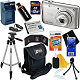HeroFiber Nikon COOLPIX A300 20.1MP Digital Camera with 8x Zoom Lens & Built-in Wi-Fi (Silver) - International Version (No Warranty) + Battery & AC/DC Charger + 10pc 32GB Dlx Accessory Kit w Cloth