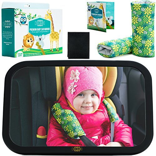 Baby Car Mirror Bundle – The Newest Baby Backseat Mirror for your child – The Safest & Largest Baby Mirror – Fully Assembled & Adjustable – Crash-tested – Baby Mirror for Car Rear-Facing