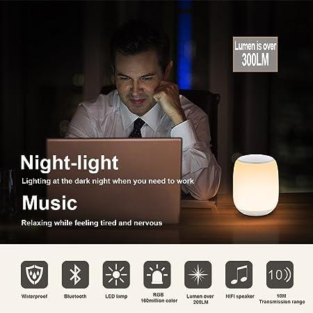 Q5 Bluetooth altavoz Li, calidad de sonido de alta fidelidad subwoofer, Touch Sensor de luz nocturna ajustable atmósfera luces y RGB luces que cambian de ...