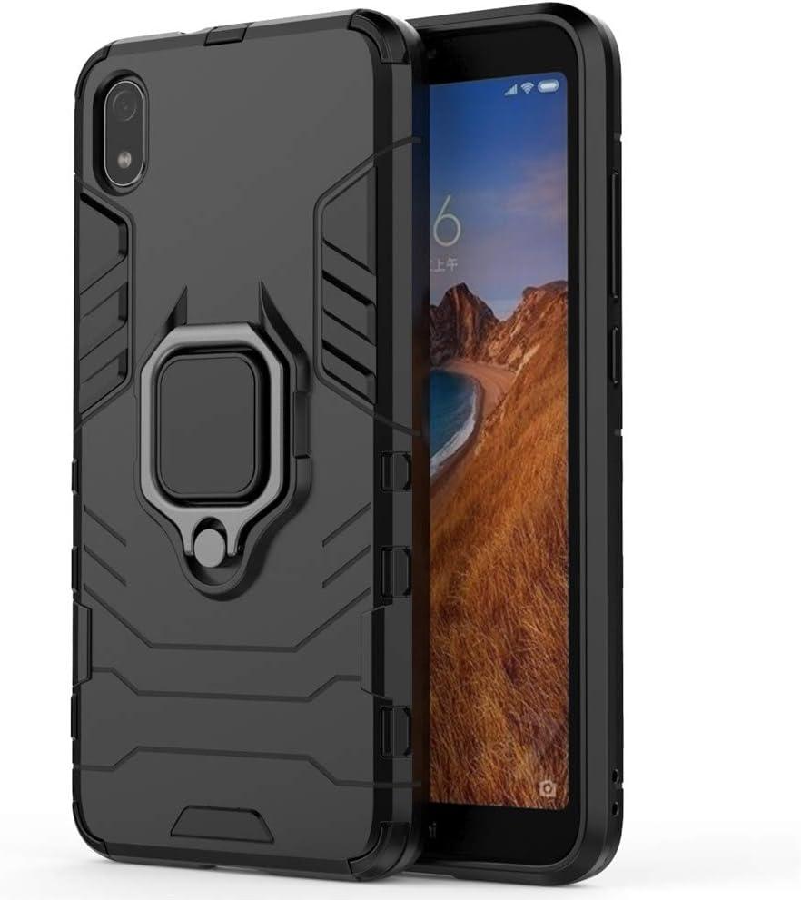 Xiaomi Redmi 7A Funda, CHcase 2in1 Armadura Combinación A Prueba de Choques Escudo Cáscara Dura PC + TPU con Soporte Magnetic Car Mount Case Cover para Xiaomi Redmi 7A -All Black