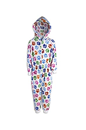 a83700fba1f Camille Childrens Unisex Multi Coloured Paw Print Soft Fleece Hooded White  Onesie  Camille  Amazon.co.uk  Clothing