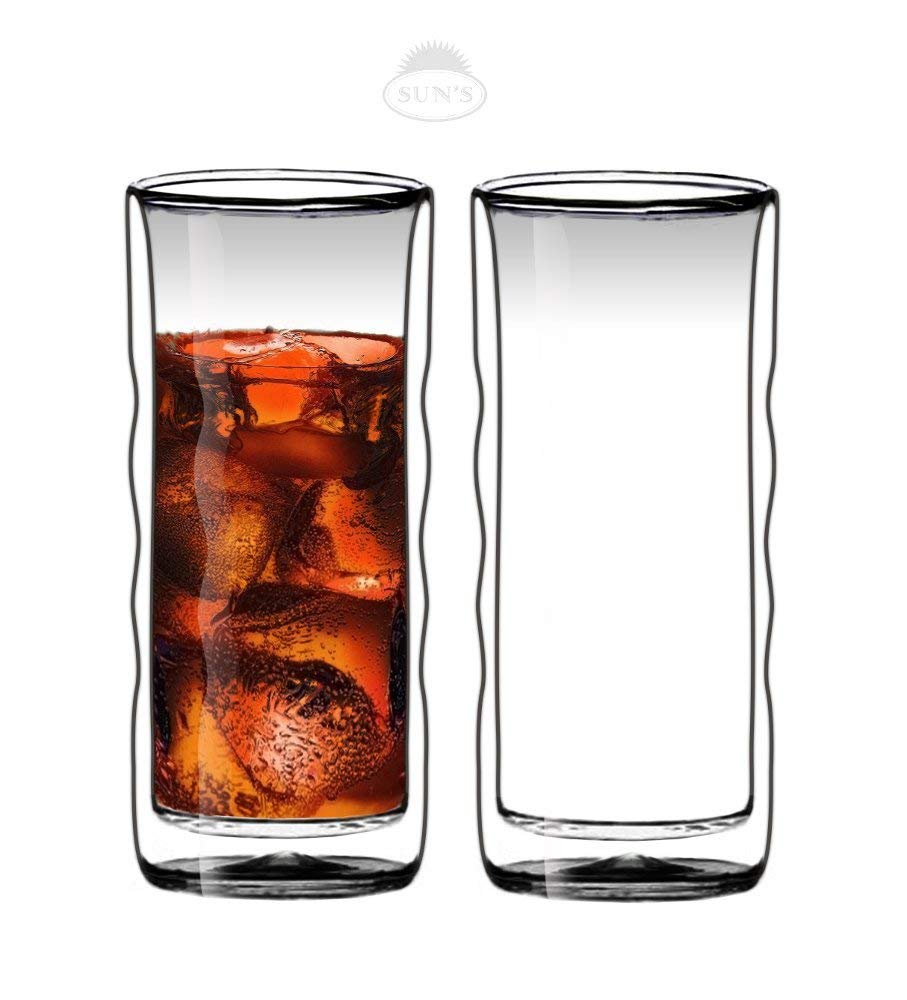 Sun's Tea(TM) 20oz Ultra Clear Strong Double Wall Insulated Thermo Wave Glass Tumbler Highball Glass for Beer/Cocktail/Lemonade/Iced Tea, Set of 2 Sun' s Tea DB08