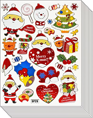 - Jazzstick 140 Glitter Santa Clause Merry Christmas Gifts Stickers Value Pack 10 sheets small 09A13