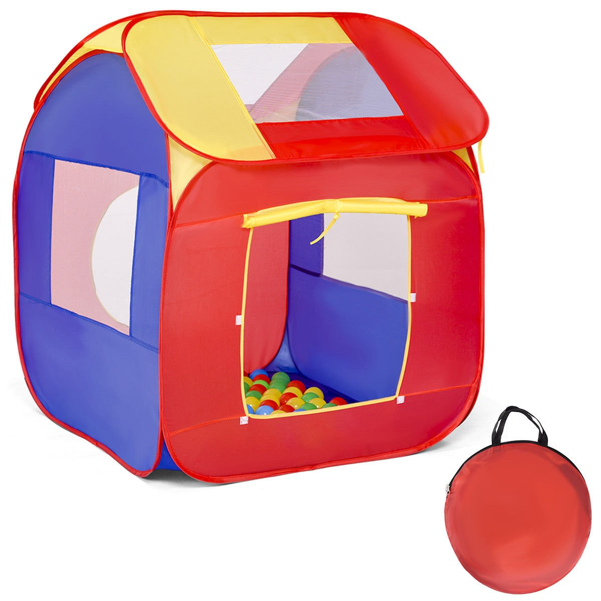 Globe House Products GHP 34''x34''x40'' 170T Polyester Fabric Kids Portable Playhouse Tent with 100 PVC Balls