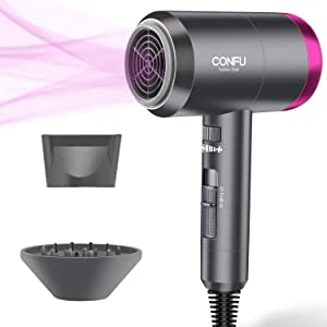 Ionic Hair Dryer, 1600W Portable Lightweight Blow Dryer, Fast Drying Negative Ion Hairdryer Blowdryer, 3 Heat Settings & Infinity Speed, with Diffuser and Concentrator Nozzle for Home & Travel