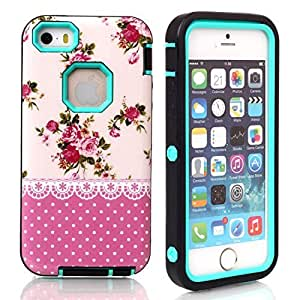 5s Case, Case For Iphone 5/5S Cover Case,Case For Iphone 5/5S Cover Case, New, Magicsky Case For Iphone 5/5S Cover Cover with Pink Flower Polka Dot Pattern Full Body Hybrid Impact Shockproof Defender Case For Iphone 5/5S Cover, 1 Pack(Baby Pink Flower/Cyan)