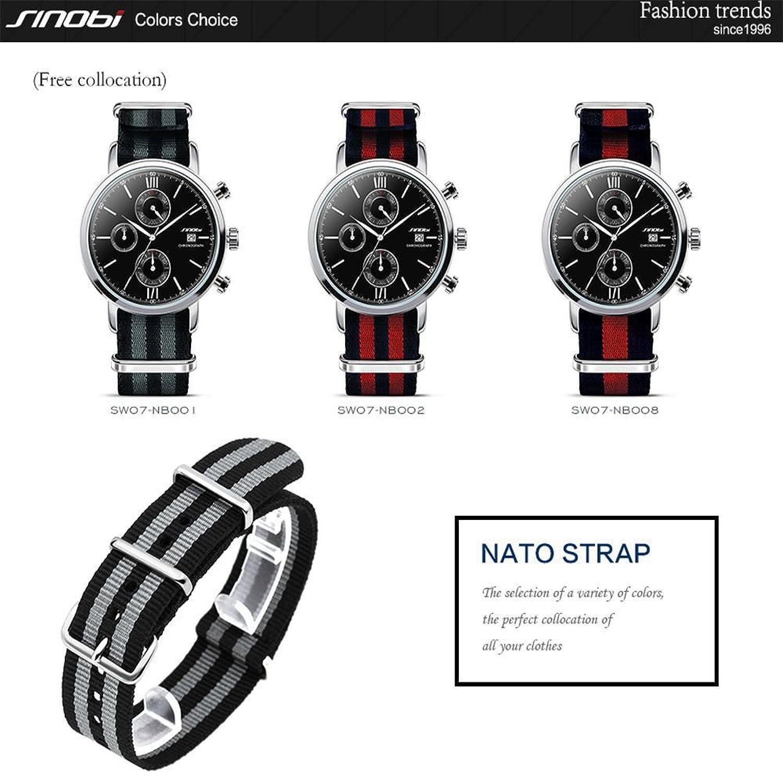 Amazon.com: SINOBI Casual Men Nato Nylon Stripe Watchband, Unisex Sport Buckles Canvas Strap Elastic Male Wristbands: Watches