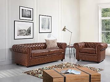 Divani Pelle Marrone Vintage : Beliani divano 3 posti design vintage in pelle marrone invecchiato