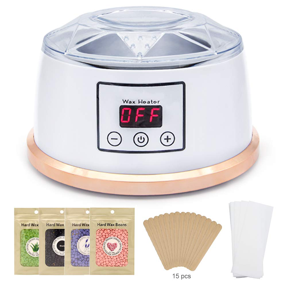 Wax Warmer Profession Electric Wax Heater Pot Waxing Kit Set Hair Removal for All Wax 4 Different Flavors Hard Wax Beans+15 Applicator Sticks LCD Digital Display White Awardroom