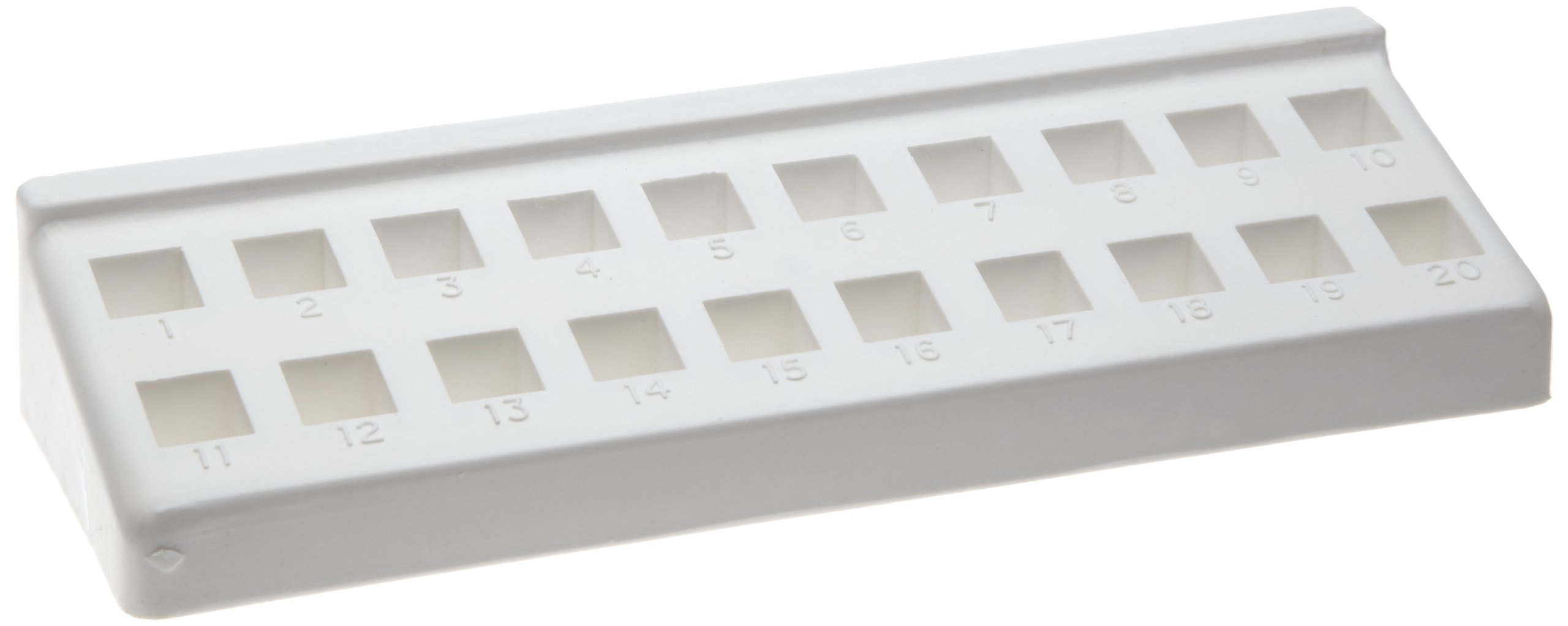 Bel-Art F18515-0000 Spectro Cuvette Rack; 10mm, 20 Places, 8¼ x 2¾ x 1⅜ in., Polypropylene