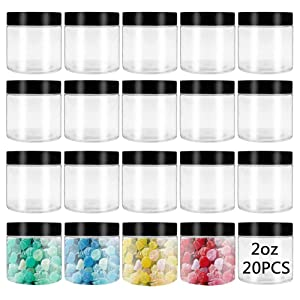 20 Pcs 2oz Plastic Round Storage Jar,Clear Empty Container Jars,Plastic Slime Container with Lids for Candy,Honey Storage,Beads,Dried Fruit,Cosmetic Cream,DIY Craft