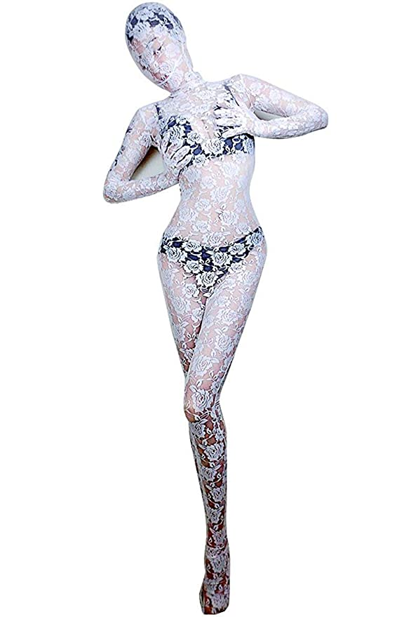 Momo Womens Lace Zentai Suit Full Body Transparent Floral Unitard