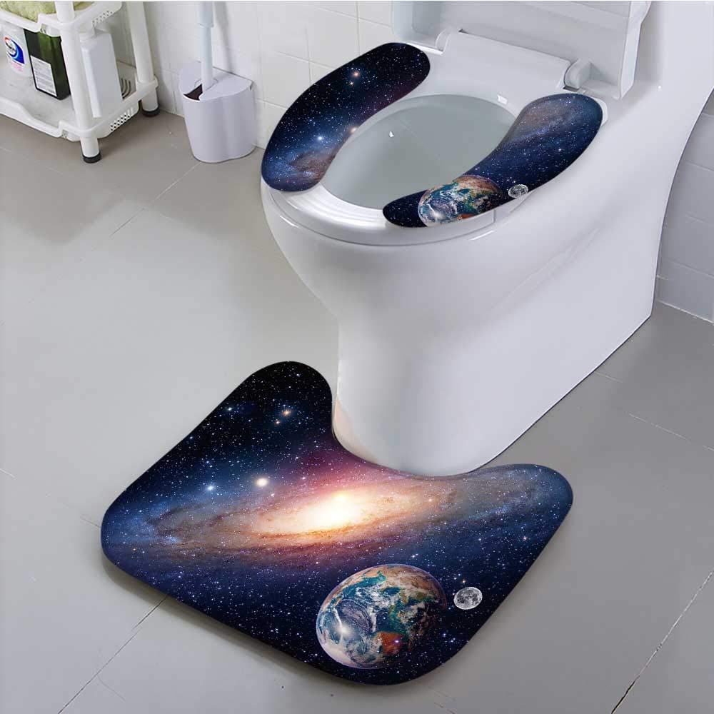 UHOO2018 Bathroom Household Rug Astrology Astronomy Earth Moon Space Bang Solar System Planet Convenient disassembly