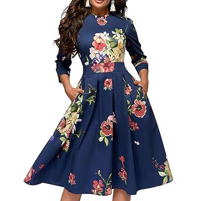 Simple Flavor Women's Floral Vintage Dress Elegant Midi Evening Dress 3/4 Sleeves: Clothing