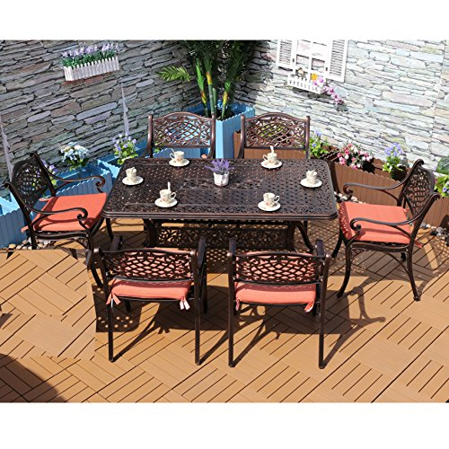 Yongcun Outdoor Patio Furniture Cast Aluminum Dining Set Patio Dining Table Chair Color is Antique Bronze One 59.1 x 35..5 Inch Table Six Chair (Cast Furniture Aluminum Patio Square)