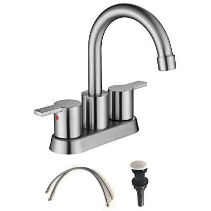 MOWA MBF15-9 Two-Handle Lavatory Brushed Nickel Faucet Lead-free ...