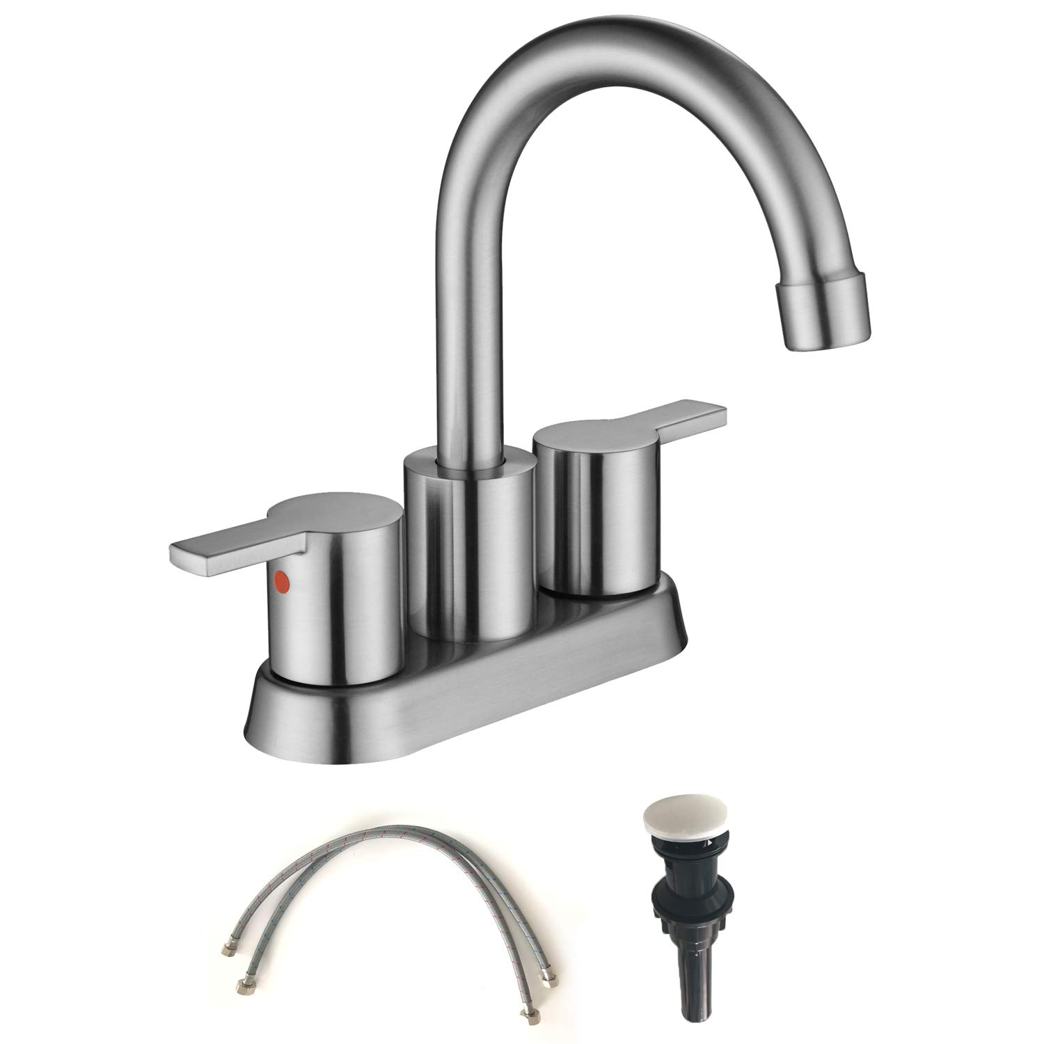 MOWA MBF15-9 Two-Handle Lavatory Brushed Nickel Faucet Lead-free cUPC Mixer Bathroom Vanity Sink Faucet Utility Laundry Faucet