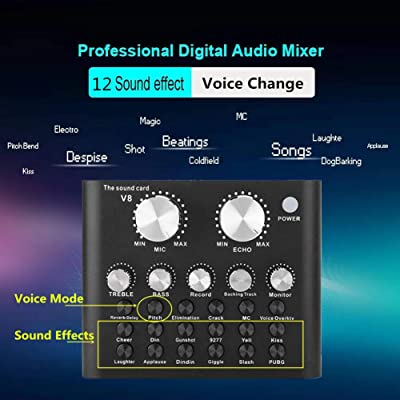 REMALL Bluetooth Live Sound Card Voice Changer Audio DJ Mixer V10 Red Upgraded Multiple Sound Effects Audio Box for Mobile Phone Computer Game iPad Live Streaming Karaoke Broadcast Recording